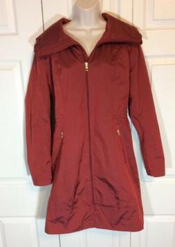 Cole Haan Signature Classic Red Rain Coat Packable Trench Ho