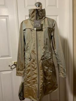 COLE HAAN Size M Topaz Khaki Hooded Zip Front Long Rain Jack