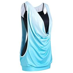 FEITONG Fashion Womens Sleeveless Gradient Color Two Piece S