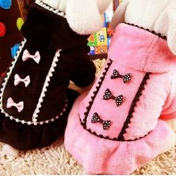 Small Pet Dog Warm Hoodie Coat Clothes Puppy Bowknot Sweater