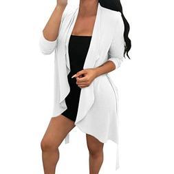 FEITONG Women Solid Long Sleeve Chiffon Irregular Collar Car