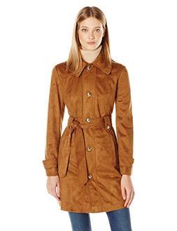 Jessica Simpson Women's Suede Rain Trench Coat, Cognac, S