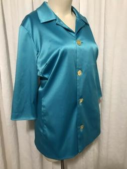 Covington Teal Button Front Rain Coat Woman's Plus Size 2x