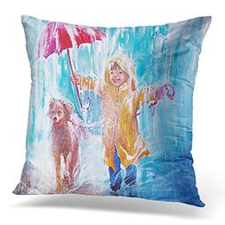 Golee Throw Pillow Cover Childhood Action Oil Painting Teena