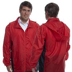TOTES TMP500 MEN'S PACKABLE RAIN JACKET RED & BLACK XL