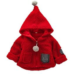 FEITONG Toddler Baby Girls Autumn Winter Cotton Hooded Coat