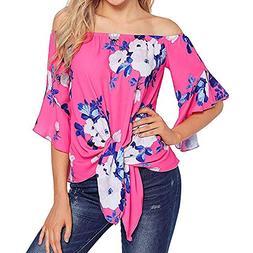 HGWXX7 Womens Tops 3/4 Sleeve Off Shoulder Front Print Tie K
