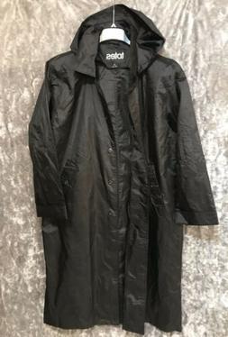 Vintage Totes Nylon Black Rain Coat 14P Hooded Long Lightwei