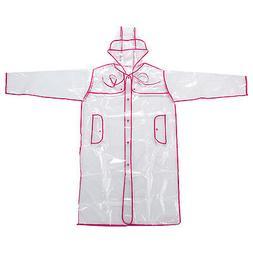 Transparent Vinyl Raincoat Runway Style Womens Girls Clear F