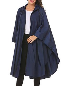 unibelle Unisex Rain Poncho Waterproof Hooded Batwing Sleeve
