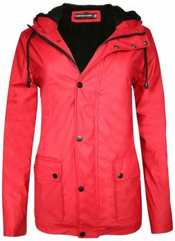 Urban Republic Ladies Hooded Vinyl Rain Jacket with Fur Lini