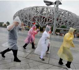 US Men and Women Waterproof Jacket PE Hooded Raincoat Rain C