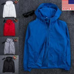 US Men's Jacket Waterproof Hooded Outdoor Camping Windbreake