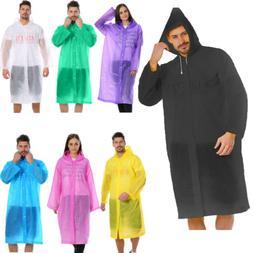 US NEW Men Women Waterproof Jacket PE Hooded Raincoat Rain C