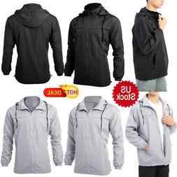 US New Mens Hooded Jacket Waterproof Windbreaker Zip Up Casu