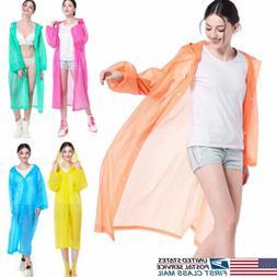 US Waterproof Jacket Clear PVC Raincoat Rain Coat Hooded Pon