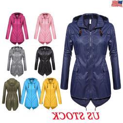 US Womens Winter Raincoat Hooded Ladies Waterproof Jacket Pa