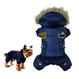 Gimilife USA Pet Air Force Costume, Cotton Warm Coat with Ho