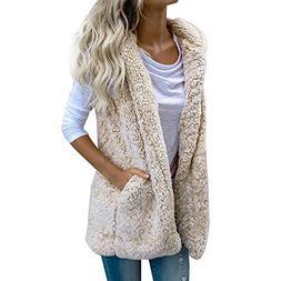 Women's Vest Winter Hoodie Fuzzy Fleece Hooded Faux Fur Zip