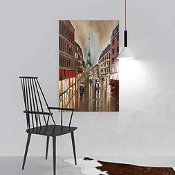 SOCOMIMI Wall Art Frameless rain in Paris Evening Wet Street