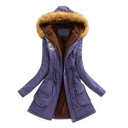 Womens Warm Long Coat Fur Collar Hooded Jacket Slim Winter P