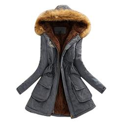 Liraly Womens Warm Long Coat Fur Collar Hooded Jacket Slim W