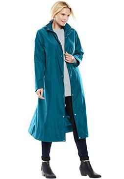 Women's Plus Size Water Repellent Long Raincoat