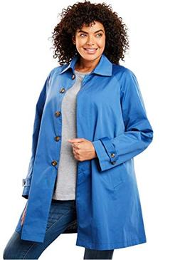 Woman Within Plus Size Water-Resistant A-Line Raincoat - Dus