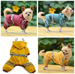 Waterproof Dog Hooded Raincoat Rain Coat Pet Jacket Puppy Ou