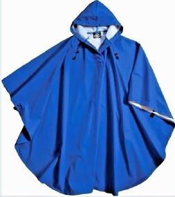 Rain Poncho Coat Royal Blue Waterproof Hood Wind Rain Protec