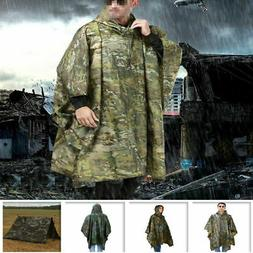 Waterproof Hooded Ripstop Camo Poncho Rain Coat Military Cam