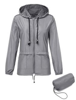 ZHENWEI Waterproof Lightweight Hooded Outdoor Rain Jacket Wo