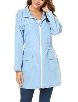 ZHENWEI Womens' Waterproof Lightweight Raincoat Hooded Outdo