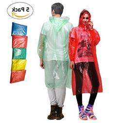 Waterproof Rain Ponchos – Set of 5 Disposable Rain Coats f