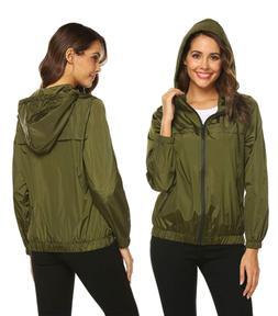 Hotouch Waterproof Raincoats for Womens Hooded Zip-up Rain J