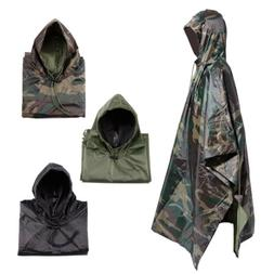 Waterproof US Army Hooded Ripstop Festival Rain Poncho Milit