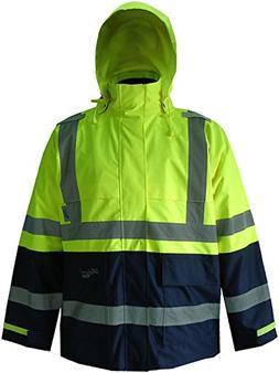 Rain Jacket with Hood, Grn/Navy, XL, Unisex