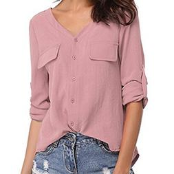 Wear To Work,Gillberry Women Casual Long Sleeve V-Neck Chiff