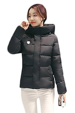 YMING Women's Winter Basic Cotton Solid Fur Collar Down Jack