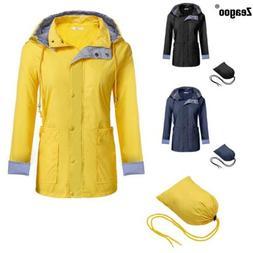 Meaneor Women Casual Hooded Long Sleeve Outdoor Waterproof R