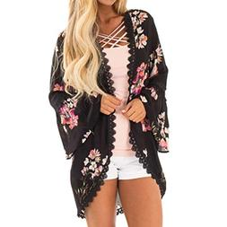 FEITONG Women Chiffon Patchwork Bat Sleeves Coat Tops Kimono