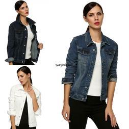 Women Girl Long Sleeve Slim Coat Denim Short Casual Jean Jac