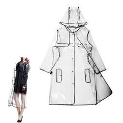 Women Girls Men Transparent Hoodie Clear Rainwear Runway Rai