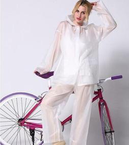 Women Hiking Cycling Riding Rainproof Hooded Raincoat 2PCS R