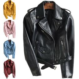 Women Ladies Faux Leather Jacket Coats Zip Up Biker Short Pu