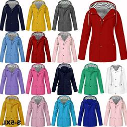 Women Ladies Raincoat Wind Waterproof Jacket Hooded Rain Mac