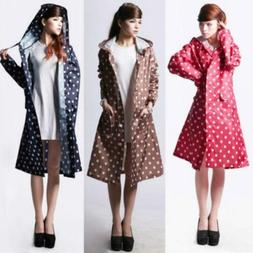 women lady dotted raincoat for outdoor travel