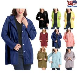 Women Lightweight Rain Coat Waterproof Jacket Thin Hooded Tr