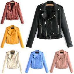 Women Long Sleeve Faux Leather Jacket Coats Zip Biker Punk C