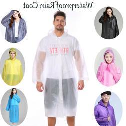 Women Men Clear EVA Raincoat Waterproof Rain Coat Hooded Pon